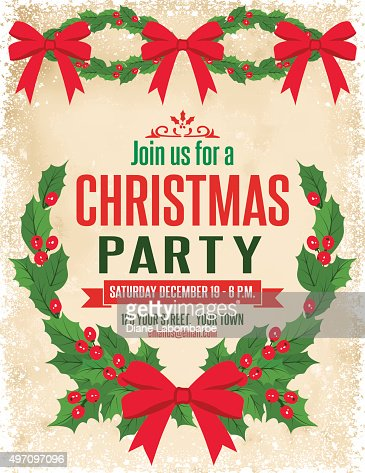 Retro inspired christmas party invitation template wreath vector keywords stopboris Gallery