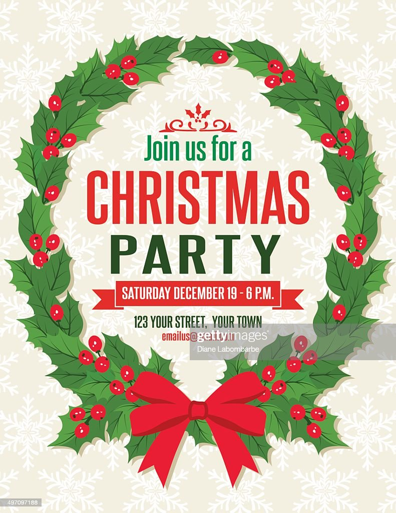 holly christmas party invitation template vector art - Christmas Party Invitations Templates