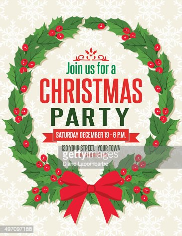 holly christmas party invitation template vector art | getty images, Party invitations