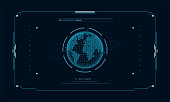 Hologram planet Earth in window virtual touchscreen user interface. Futuristic planet on control panel target screen. Concept sci fi interface for vr and video games.Vector illustration.