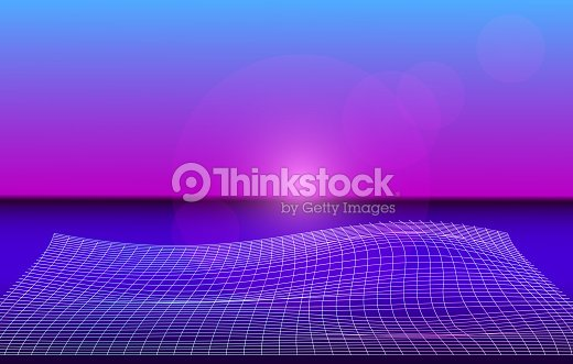 Holographic Background With Neon Laser Grid Synthwave Style