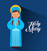 holy mary mother blessed christmas cartoon vector illustration