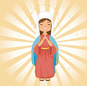 holy mary religious card vector illustration design
