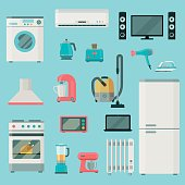 Home appliances icons set. set of elements. Household appliances. Vector flat illustration