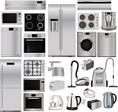 Home appliances. Set of household kitchen technics: microwave and oven, dishwasher, vacuum cleaner, refrigerator, washing machine, kettle. Vector illustration isolated on white background
