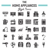Home appliances solid icon set, technology symbols collection, vector sketches, logo illustrations, household linear pictograms package isolated on white background, eps 10.