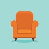 Home armchair isolated on background. Flat style icon. Vector illustration.