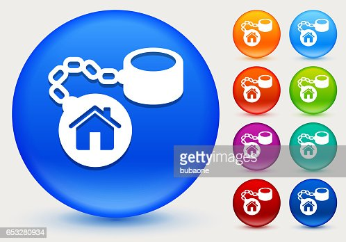 Home Ball and Chain Icon on Shiny Color Circle Buttons : Vector Art