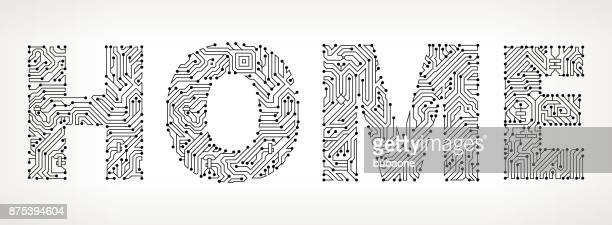 Casa circuito Vector botones.