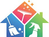 amazing home cleaning service symbol illustration