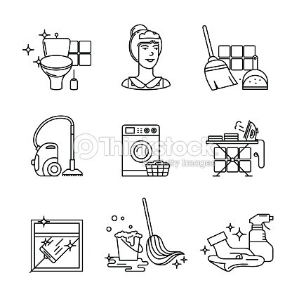 Home Cleaning Washing And Tidying Signs Set Stock Vector