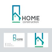 Home construction vector logo with business card template