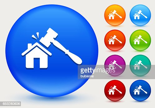 Home Court Icon on Shiny Color Circle Buttons : Clipart vectoriel