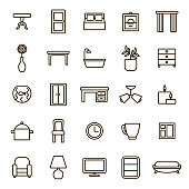 Home Decoration Signs Black Thin Line Icon Set Include of Table, Chair and Bulb. Vector illustration of Elements Living Room