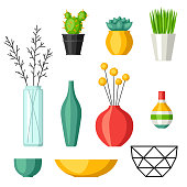 Home decoration vases flower pots, succulents and cacti.