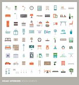 Home room interiors design elements and icons set: furnishings, objects and appliances