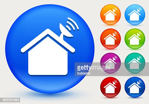 Home Dish Icon on Shiny Color Circle Buttons : Vector Art