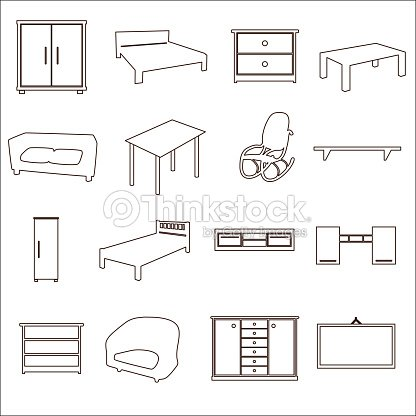 home furniture types outline icons set eps10 vector art thinkstock. Black Bedroom Furniture Sets. Home Design Ideas