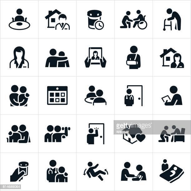 Iconos de la atención médica domiciliaria