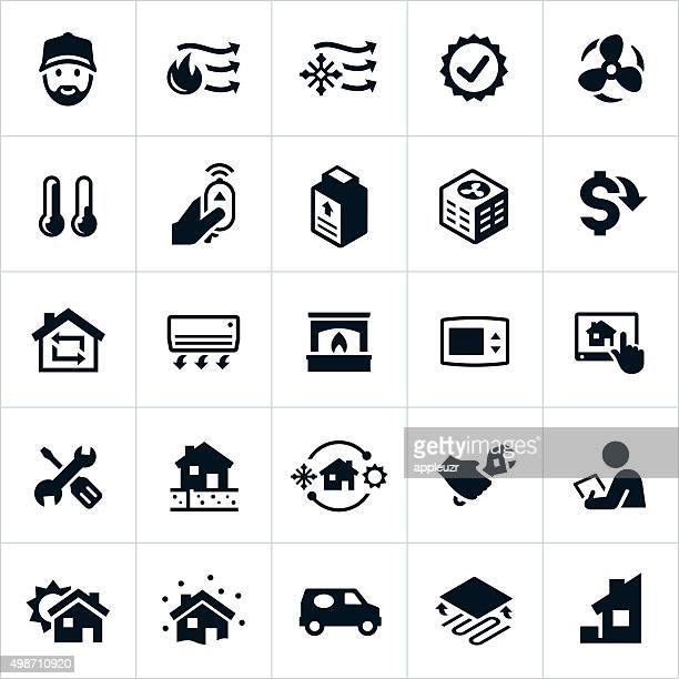Home Heating and Cooling Icons