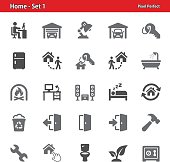 Professional, pixel perfect icons depicting various real estate and home ownership concepts.