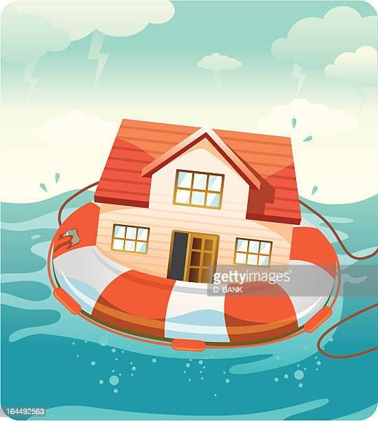 Illustrazioni e cartoni animati stock di naufrago getty - Assicurazione sulla casa e obbligatoria ...