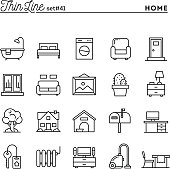 Home, interior, furniture and more, thin line icons set, vector illustration
