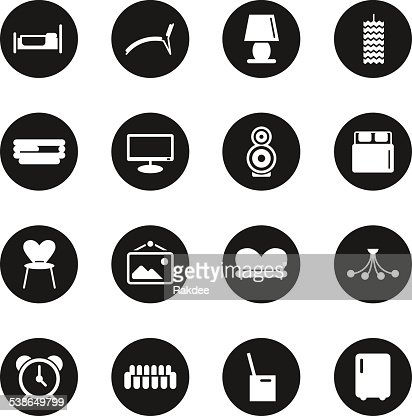 Interior Design Icon Set Vector Art