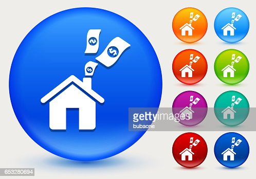 Home Money Icon on Shiny Color Circle Buttons : Vektorgrafik