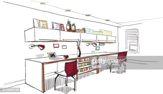 Home Office Interior Sketch Vector Art | Getty Images