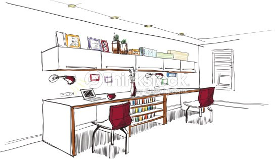 home office interior sketch vector art thinkstock. Black Bedroom Furniture Sets. Home Design Ideas