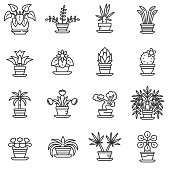 home plants icons set. Flower in a pot, thin line design. Home garden, linear symbols collection. isolated vector illustration.