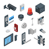 Home security systems vector 3d isometric icons and design elements set. Smart technologies, safety house, control and protection concept.