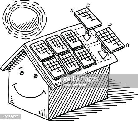 Home Solar Panel Roof Sun Energy Drawing Vector Art