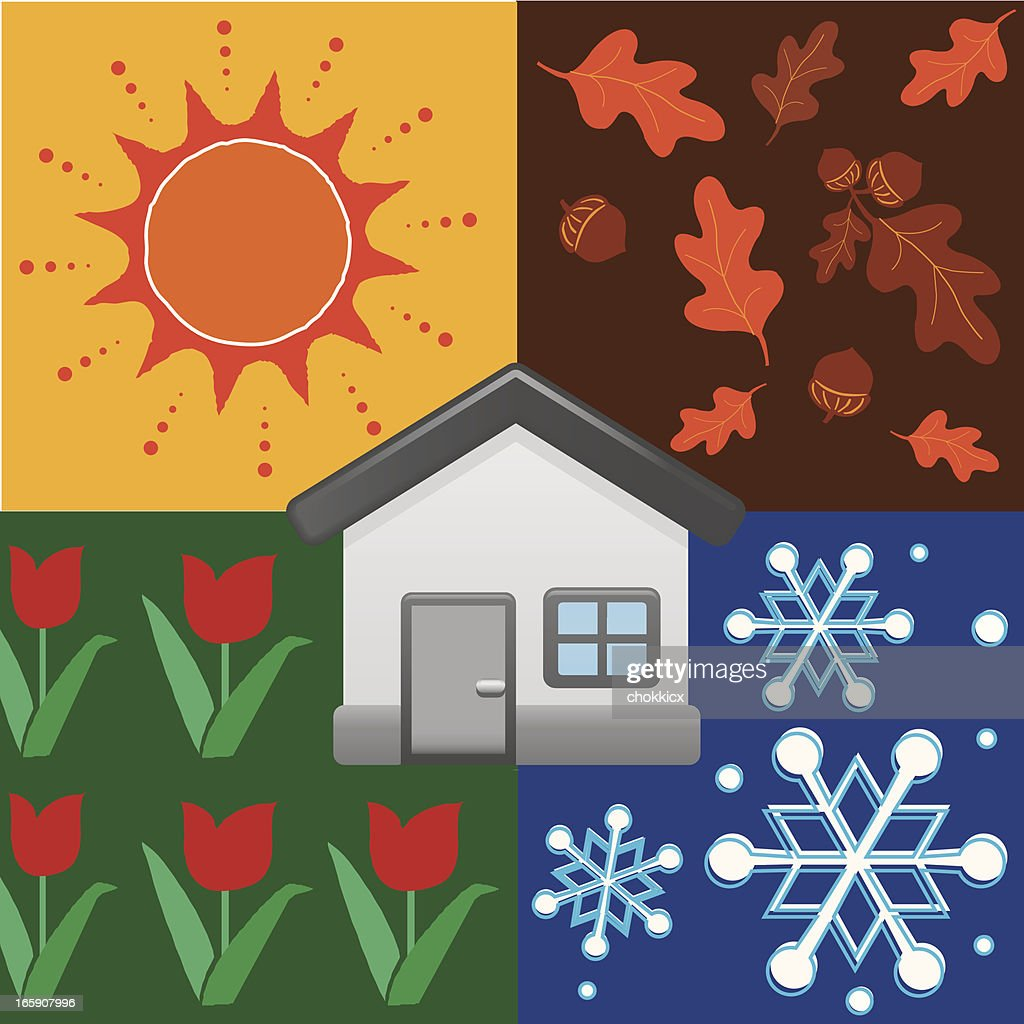 home with four seasons background : Vector Art