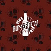 Homebrew icon on seamless pattern clinking glasses of beer, vector illustration
