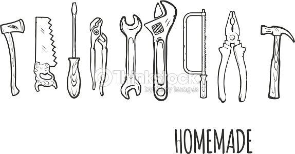 Homemade Hand Tools Background Vector Illsutration stock