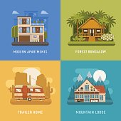 Different dwelling set. City modern apartments, tropic bungalow at jungle, mountain lodge at national park area and camping trailer at wilderness. Vector home poster collection. House booking and rent