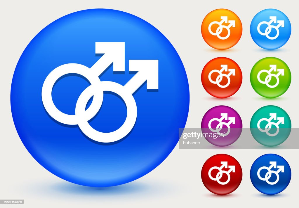 Homosexual Couple Icon on Shiny Color Circle Buttons : Vector Art