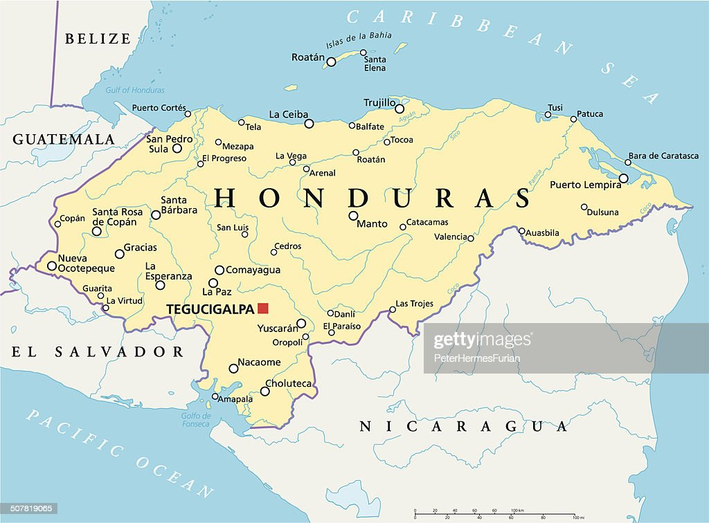 Honduras Political Map Vector Art Thinkstock
