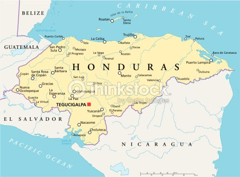 Honduras Political Map Vector Art Thinkstock - San pedro sula map