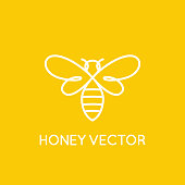 Vector icon design template in trendy minimal linear style - honey bee concept - emblem for food packaging