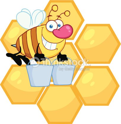 Honey Bee Flying With A Buckets In Front Of Hive Vector Art
