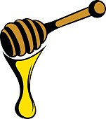 Honey dipper icon in cartoon style isolated vector illustration