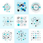 Honeycomb and circular bauhaus abstract geometric shapes set. Modernistic circle elements. Vector illustration