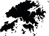 Hong Kong black map on white background vector