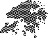 Hong Kong map abstract schematic from black triangles repeating pattern geometric background with nodes. Vector illustration.