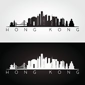 Hong Kong skyline and landmarks silhouette, black and white design, vector illustration.