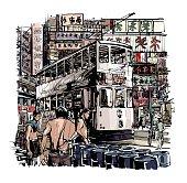 Hong Kong, tram on the street - vector illustration