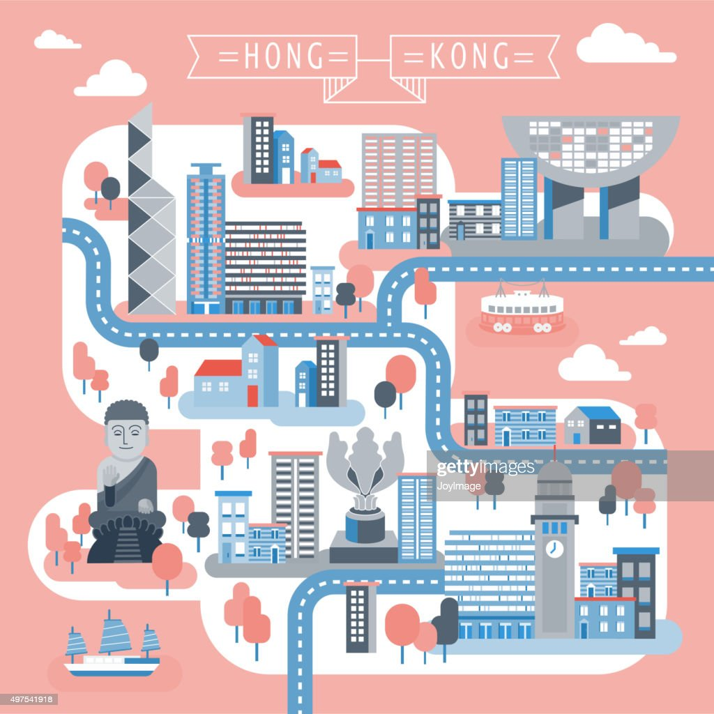 Hong Kong Travel Map Design Vector Art Thinkstock